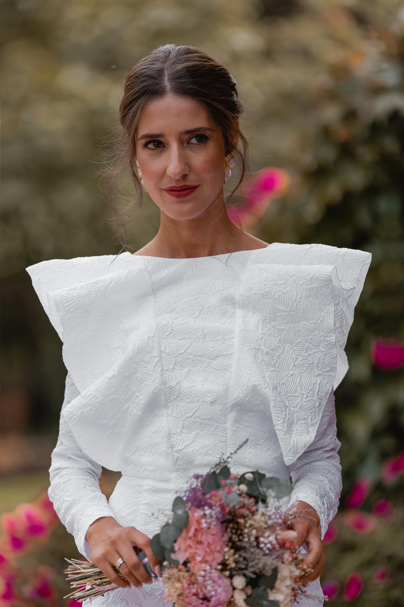 vestido blanco volantes preboda